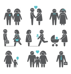 Women and men icons set vector