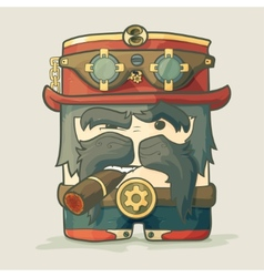 Steampunk dirigible pilot with goggles and hat vector