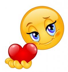 Emoticon giving heart vector