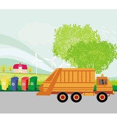 Colorful recycle bins ecology concept with vector