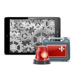 Tablet pc with emergency kit vector