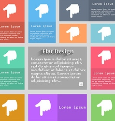 Pointing hand icon sign set of multicolored vector