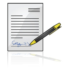 Document with a signature vector