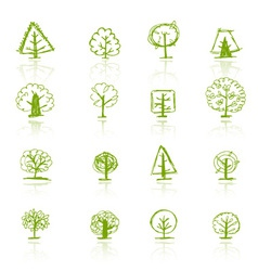 Set of sketch trees for your design vector