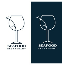 Seafood restaurant design template with wine glass vector