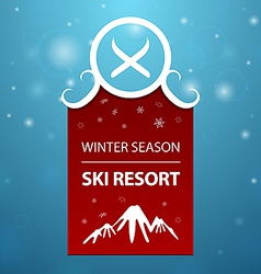 Red logotype winter season ski resort vector