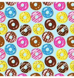 Seamless pattern of assorted doughnuts vector