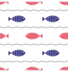 Seamless nautical pattern with fish and waves vector
