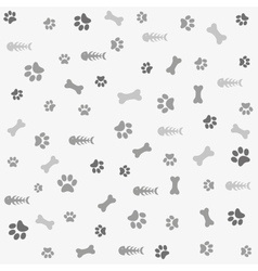 Background with dog cat paw print and bone vector