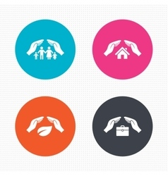 Hands insurance icons human life-assurance vector