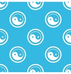 Ying yang sign blue pattern vector