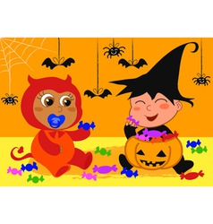 Babies at halloween vector
