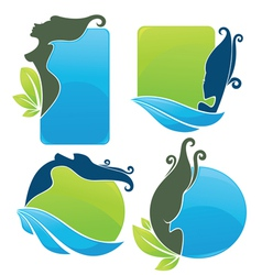 Eco beauty stickers vector
