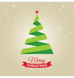 Christmas tree gold card vector