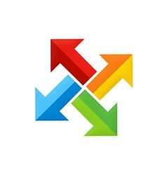 Colorful arrow dynamic circle logo vector