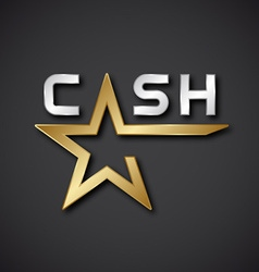 Eps10 cash golden star inscription icon vector
