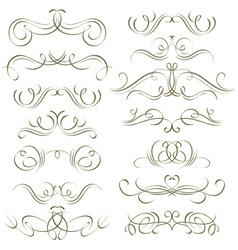 Calligraphy decorative borders ornamental rules vector
