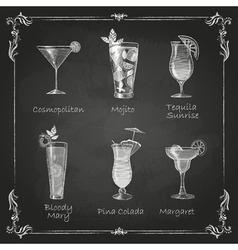 Chalk drawings cocktail menu vector