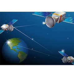 Earth and satellites vector