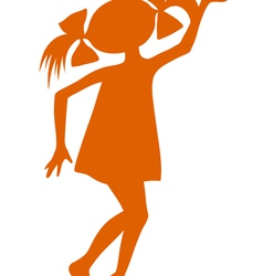 Silhouette of cartoon girl vector
