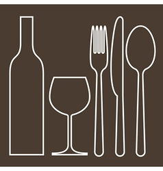 Bottle wineglass fork knife and spoon vector
