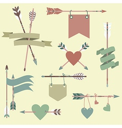 Set with ethnic arrows ribbons flags hearts vector