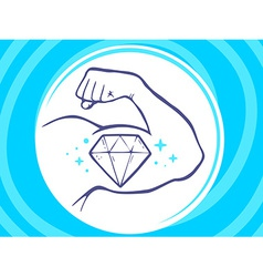 Strong man hand with icon of diamond on vector