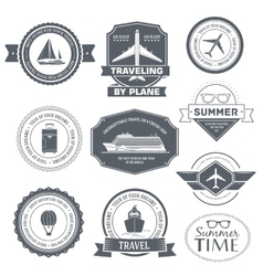Travel set label template of emblem element for vector