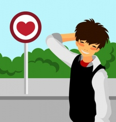 Student with love sign vector