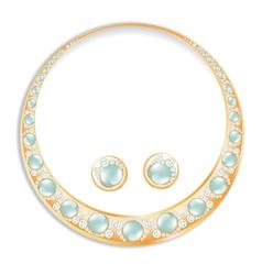 Earrings necklace set vector