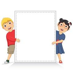 Of cute children holding white vector