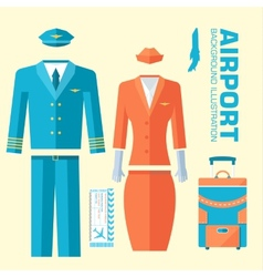 Airplane pilot and stewardess uniform on flat vector