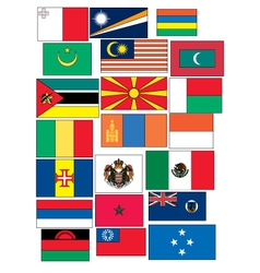 Set of 21 flags countries started with m vector
