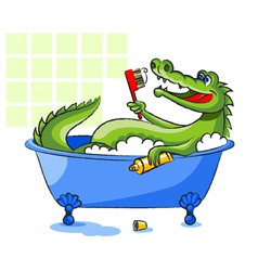 Crocodile in a bathtub vector