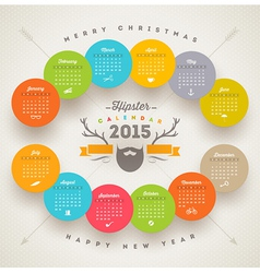 Calendar 2015 template with hipster style elements vector