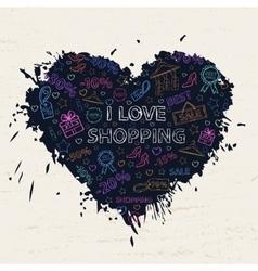 Shopping neon heart vector