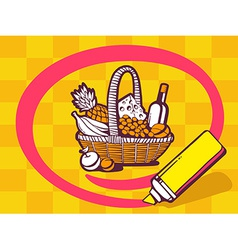 Marker drawing circle around basket with vector