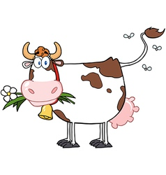 Dairy cow with flower in mouth vector