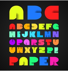 Decorative colorful alphabet with origami object vector