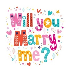 Will you marry me retro typography lettering vector