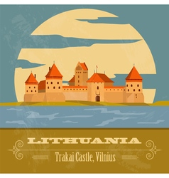 Lithuania landmarks retro styled image vector