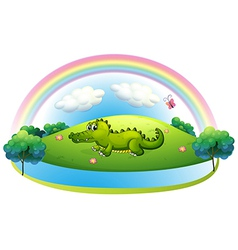 An alligator at the hill with a rainbow vector