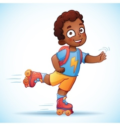 Little african american boy riding on roller vector