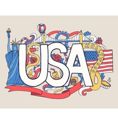 Usa art abstract hand lettering and doodles vector