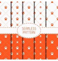 Set of seamless pattern with animal footprints vector