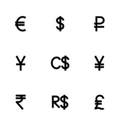 Currency symbol icon set vector