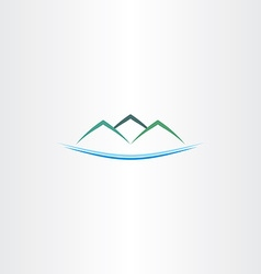 Sea and mountains island logo icon vector