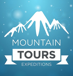 Mountain tours expedition on blue background vector
