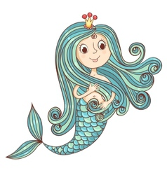 Mermaid princess isolated on white vector