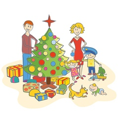 Happy family dressing up the fur tree isolated vector